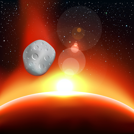 end of the world: Star light and the blue planet. Stars and reflections of light on background. Space vector illustration