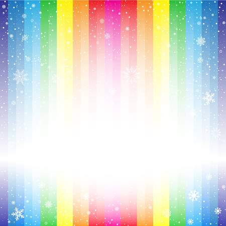 christmas backdrop: The rainbow striped snow backdrop. Marry Christmas and Happy New Year multicolored background