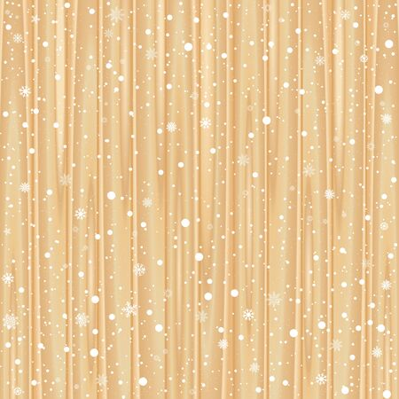 light brown background: Snow and light brown wood background. Christmas bright wooden backdrop texture