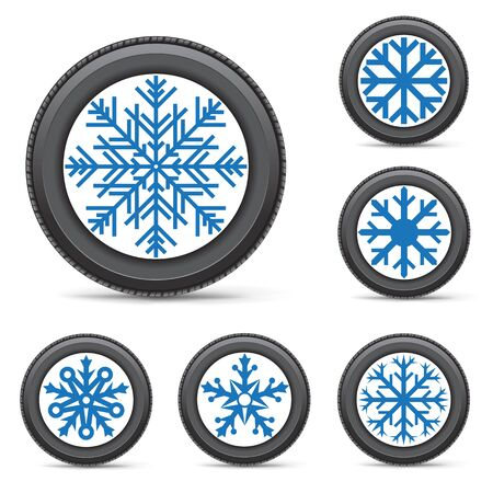 instead: The set of winter inflated wheels on white background. Tires with snowflake symbol instead of a rim