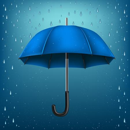 The blue opened umbrella on rainy background