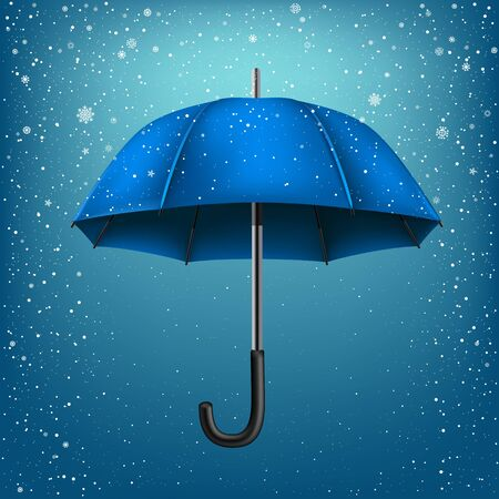 disclosed: Blue umbrella on blue snow background. Christmas and New Year theme Stock Photo