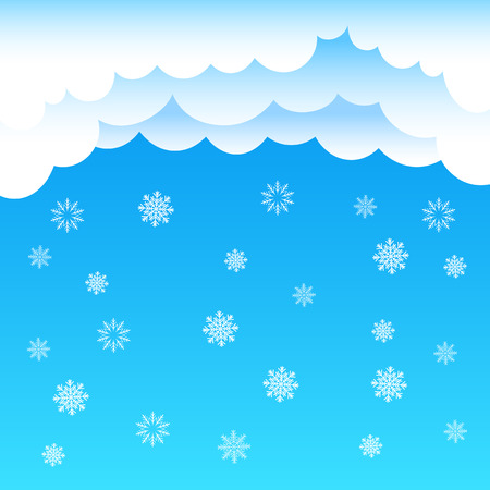 time of the year: The cartoon cloud and snow falling on blue background. Winter time. Christmas and New Year eve
