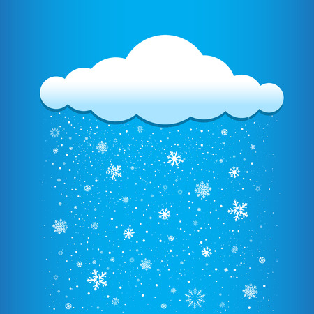 time of the year: The snow falls from the cloud. Winter time and weather icon. Christmas and New Year eve