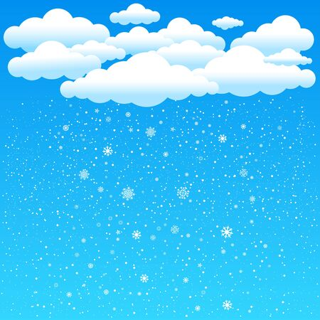 time of the year: The simple cartoon clouds and snow falling on blue background. Winter time. Christmas and New Year eve