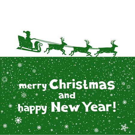 santa sleigh: The Christmas Greetings from Santa which flies to give gifts. Green silhouette of blast off sleigh on white background