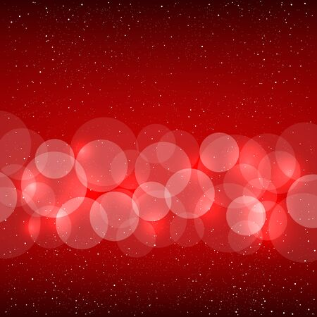 christmas backdrop: Red bokeh background with shine circles. Christmas and New Year backdrop