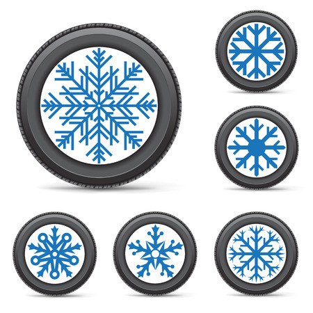 snow tires: The set of winter inflated wheels on white background. Tires with snowflake symbol instead of a rim