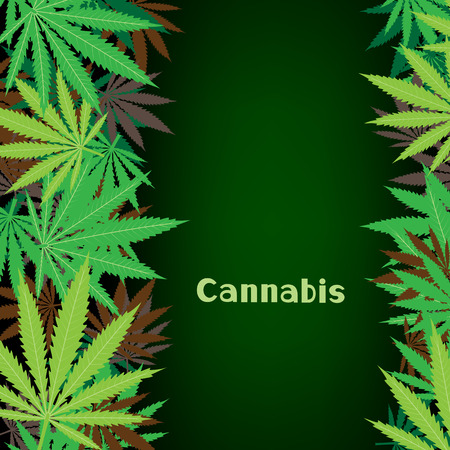 addictive: Cannabis text on hemp marijuana background. Green smoke hashish narcotic Illustration
