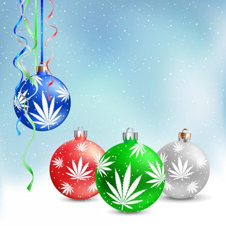 Cannabis hemp marijuana Christmas balls on light white and blue snow background. Smoke hashish narcotic patern  イラスト・ベクター素材