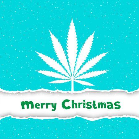 hashish: Cannabis hemp marijuana congratulation. Text Merry Christmas on white and blue torn paper background. Smoke hashish narcotic silhouette
