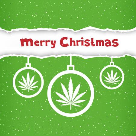 hashish: Cannabis hemp marijuana Christmas balls on light white and green torn paper snow background. Smoke hashish narcotic congratulation card
