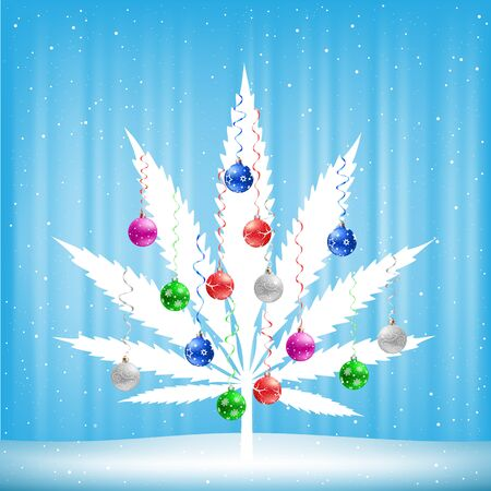 spliff: Growing cannabis hemp marijuana Christmas tree with colorfull balls on light white and blue snow background