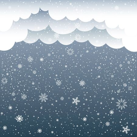 snowflake snow: The snow falls and cartoon cloud on dark background. Winter snowflake. Christmas and New Year eve