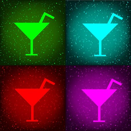 Cocktail disco party alcohol drink sign symbol on dark colored background.
