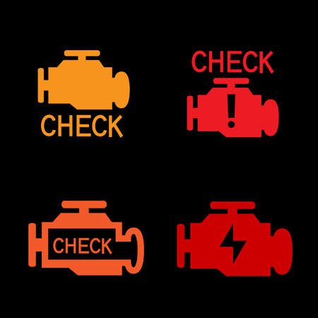motor car: Engine check icon. Car control panel interface isolated on black background. Auto motor sign