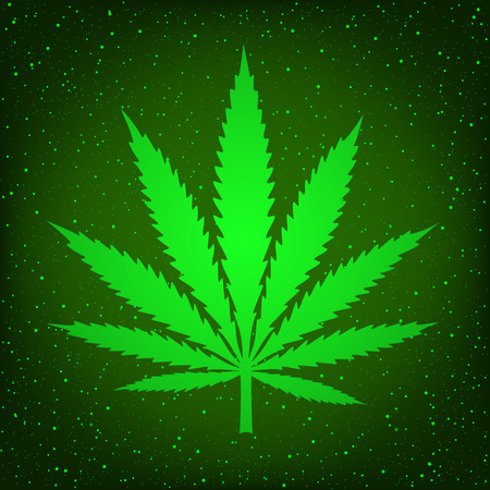 Cannabis marijuana hemp sign symbol on green background. Smoke hashish narcotic logo
