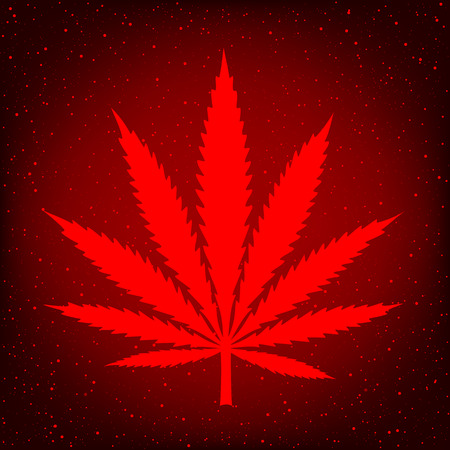 Cannabis marijuana hemp sign symbol on red background. Smoke hashish narcotic logo