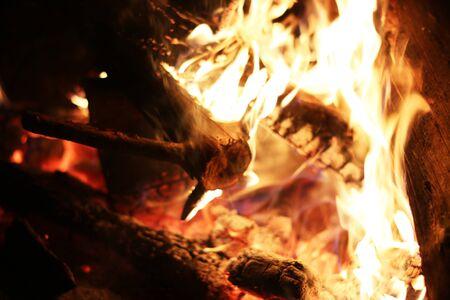 log fire: Burning log fire heat nice fireplace. Closeup flame. Barbecue coal blazing