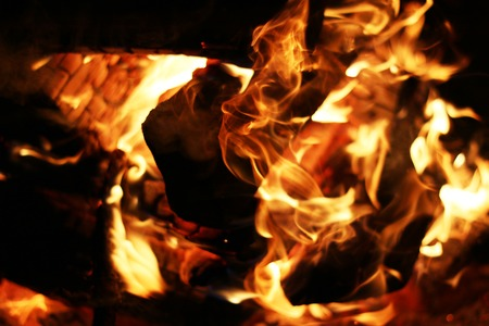 Burning log fire. Night fireplace. Closeup flame. Barbecue coal blazing Stock Photo