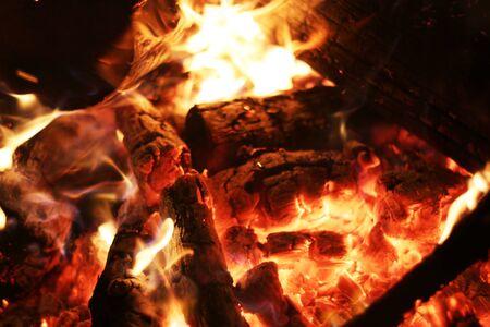 log fire: Burning log fire in fireplace. Closeup flame. Barbecue coal blazing Stock Photo