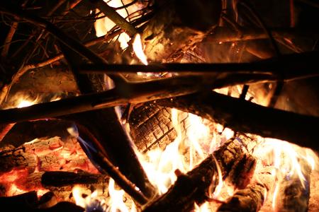 log fire: Burning big log fire in night fireplace. Closeup flame. Bonfire campfire