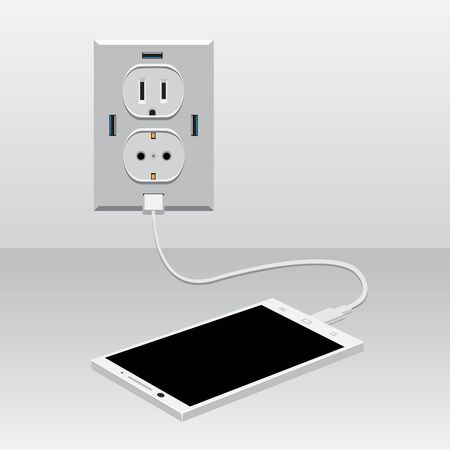 white smartphone charged usb