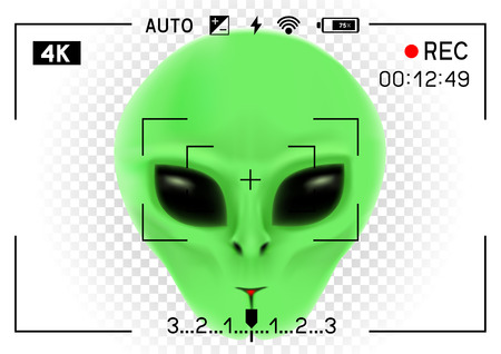 Camera viewfinder rec green alien face with black eyes on transparent white background. Record video with stranger. Invader head. UFO theme