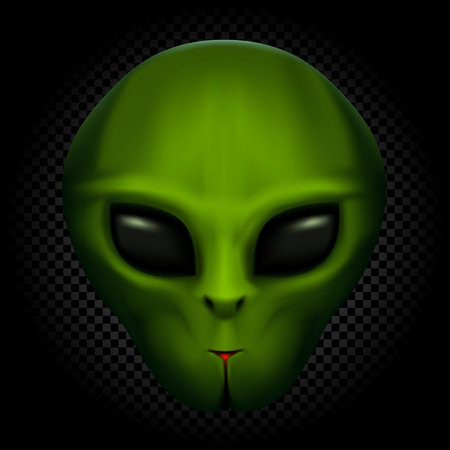 Green alien face with black eyes on transparent dark background. Invader head. UFO theme