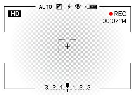 透明な白い背景のカメラ ファインダー撮影。記録ビデオ スナップ撮影