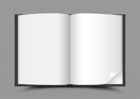 open magazine: open book gray background Illustration
