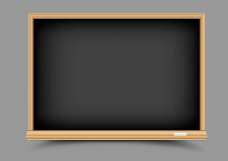 Empty education school black chalkboard with shadow on gray background. Blackboard template for chalk write or draw