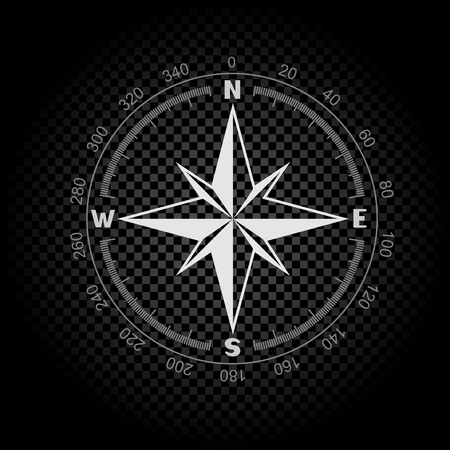White color stencil compass wind rose on dark black transparent background. The dial and the scale shows North South East West directions. Degrees scale with numbers