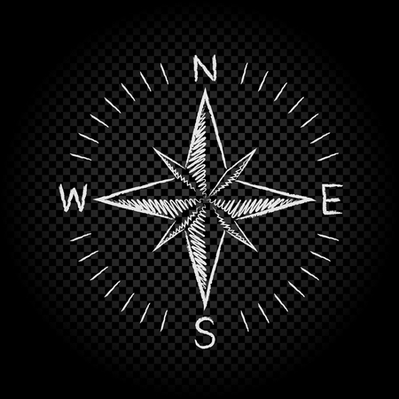 Drawing white color compass wind rose on dark black transparent background. The dial and the scale shows North South East West directions