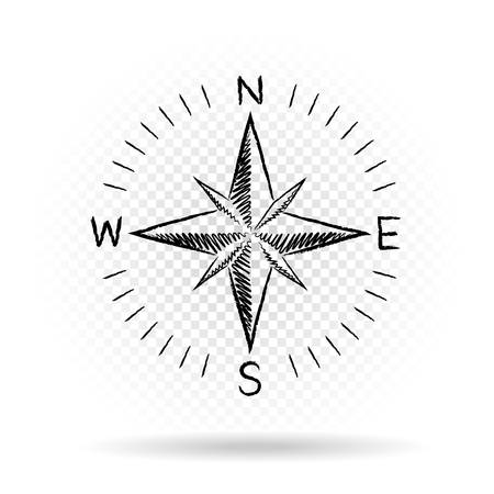 Drawing black color compass wind rose with shadow on white transparent background. The dial and the scale shows North South East West directions