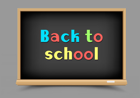 Education school black chalkboard with shadow on gray background. Blackboard template and chalk write multicolor message back to school Illustration