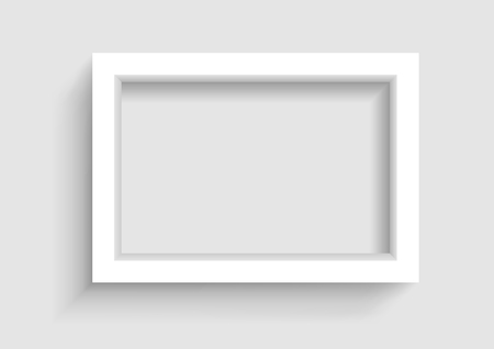 Presentation A3 or A4 horizontal picture frame design with shadow on gray background Illustration