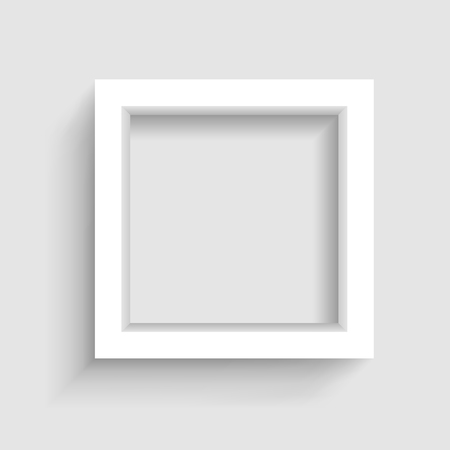 Presentation square picture frame design with shadow on gray background Illustration