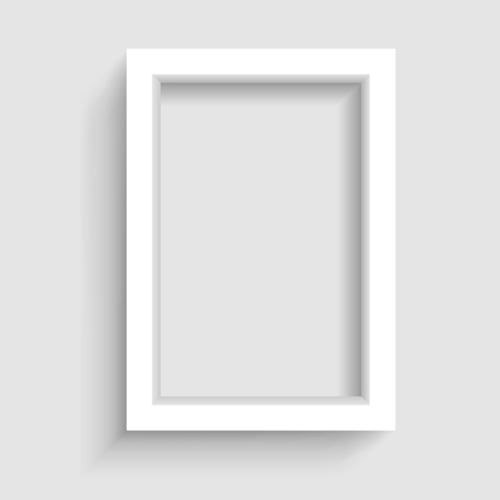 Presentation A3 or A4 vertical picture frame design with shadow on gray background Illustration