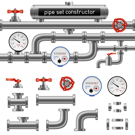 Black pipe set constructor isolated on white background.