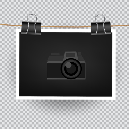 Paper horizontal photo hang on the cord on transparent background.