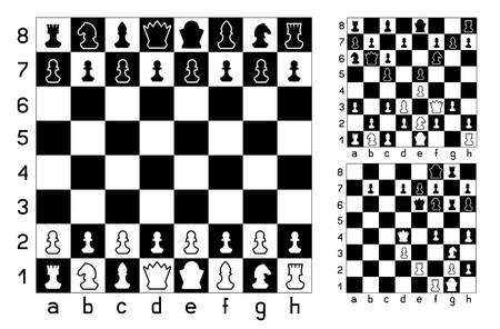 Chessboard and chess figures set collection on white background.