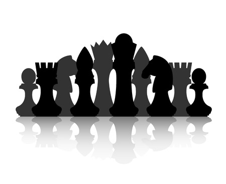 Black chess silhouette figures set collection on white background. Illustration