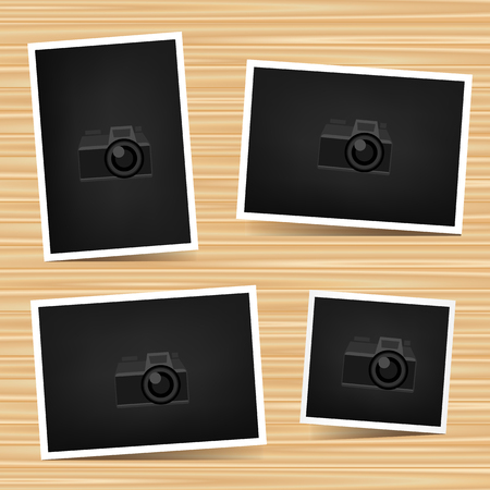 Paper horizontal, vertical and square photo set on brown wooden background.