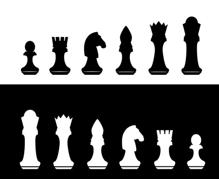Black and white chess silhouette figures set collection on white and black background.