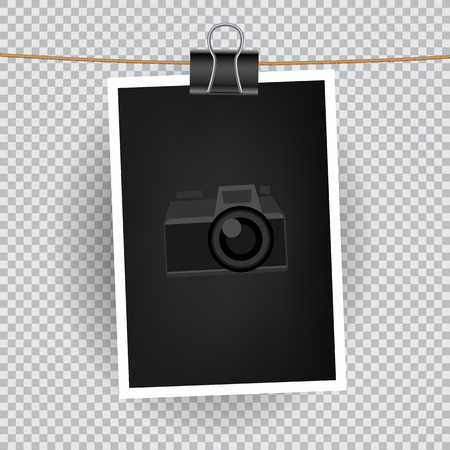 Paper vertical photo hang on the cord on transparent background.