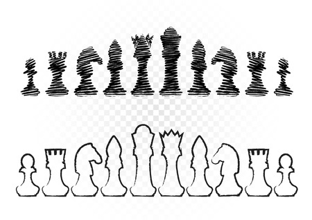 Black and white drawing chess figures set collection on transparent background.