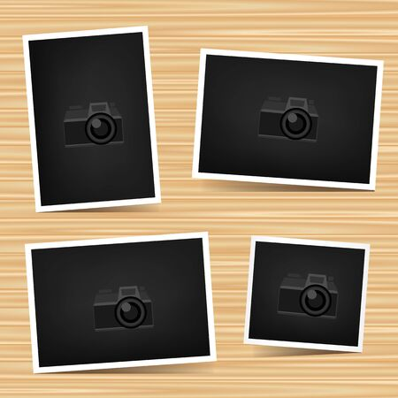 camera symbol: Paper horizontal, vertical and square photo set on brown wooden background. Empty exhibition collection of template to insert your photography. Picture collection. Camera symbol for default show Stock Photo