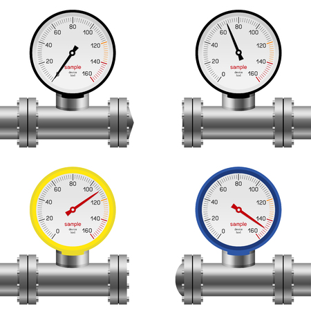 Pressure gauge pipe set isolated on white background. Gas water oil pump measure device collection. Industry meter instrument