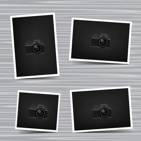 camera symbol: Paper horizontal, vertical and square photo set on gray wooden background. Empty exhibition collection of template to insert your photography. Picture collection. Camera symbol for default show